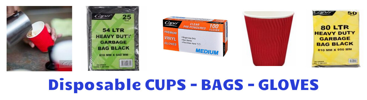 Disposable cup gloves bags